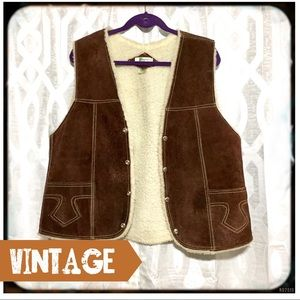 Vintage Suede and Faux Shearling Vest